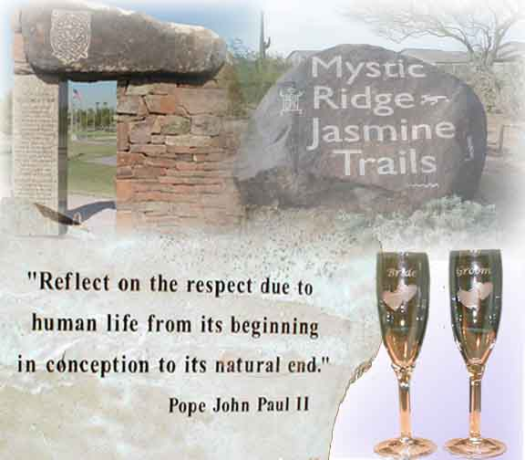 Picture, etched glasses, stone & monuments